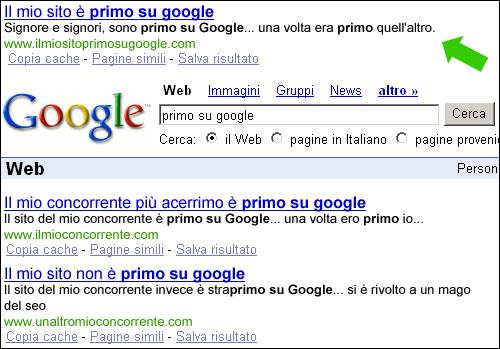 Serp dei risultati per Primo su Google